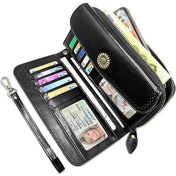 Carteras Mujer Grandes Bloqueo RFID Monederos Piel Mujer con12 Ranuras para Tarjetas y Bolsillo para Monedas Cartera Cuero Mujer con y Cremallera para ...
