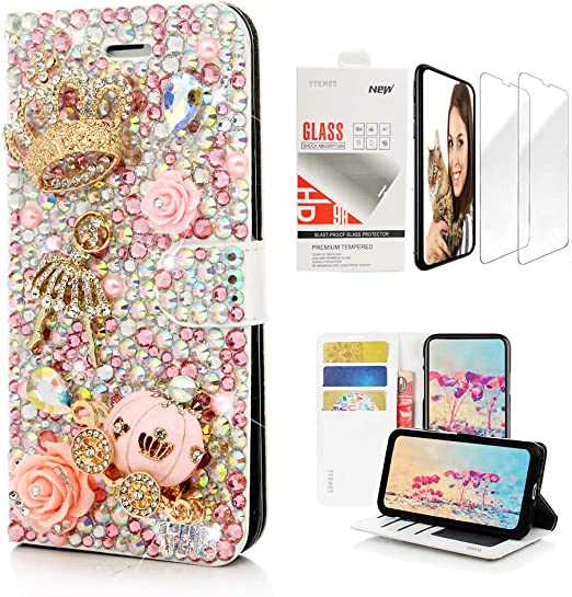 STENES Bling Wallet Phone Case Compatible with Google Pixel 2 XL 3D Handmade Camellia Flowers Crown Bowknot Leather Cover with Screen Protector /& Neck Strap Lanyard Black/&White Stylish