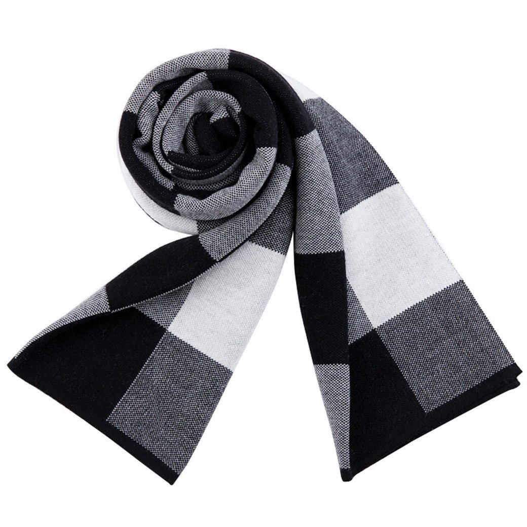 FEOYA Men's Winter Plaid Long Scarves Fashion Woollen Scarf Shawl Wrap Muffler #3