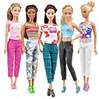 Ameesi 5 Tops + 5 Pants Fashion Girl Gift Casual Summer Clothes Outfit for Barbie Doll