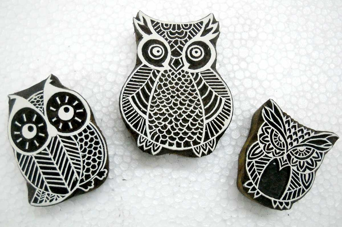 OWL Family in legno blocco timbri/Tattoo/Indian Textile Printing Blocks Crafts of India