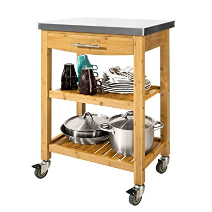 SoBuy Carrello di servizio, Scaffale da cucina, Mensola angolare,bambù e  piano in acciaio,FKW28-N, IT