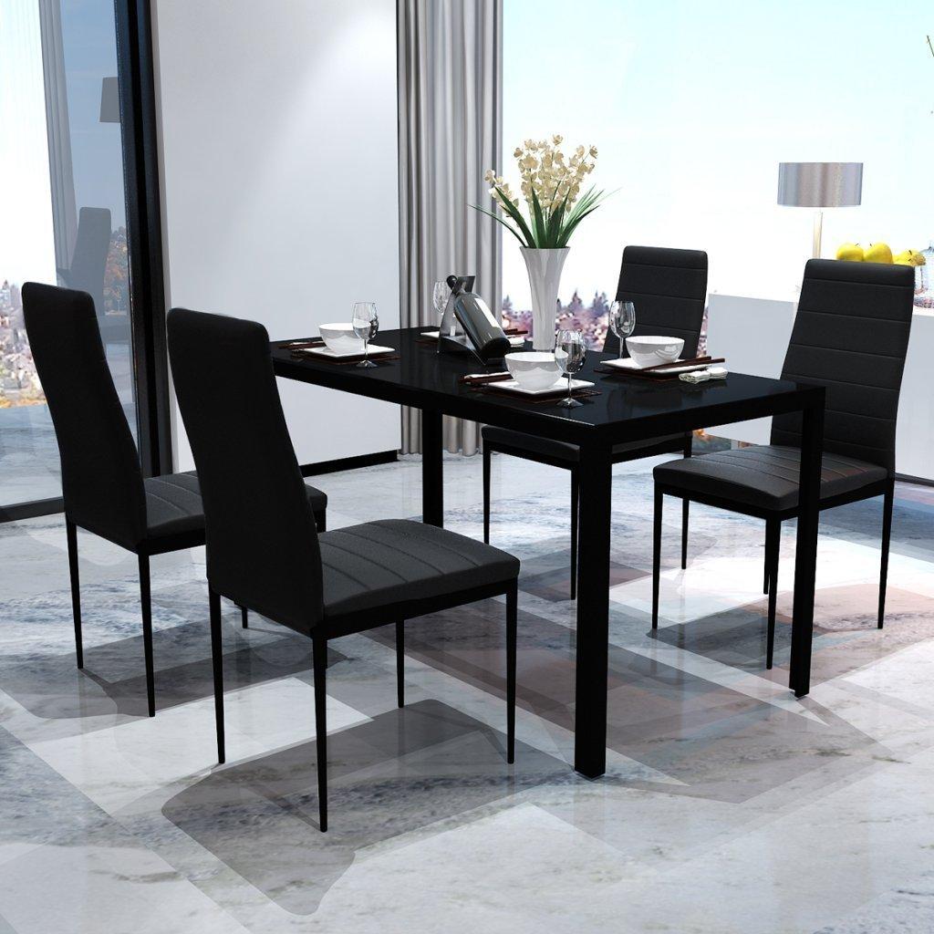 Ensemble de table à manger cinq pièces (Noir)