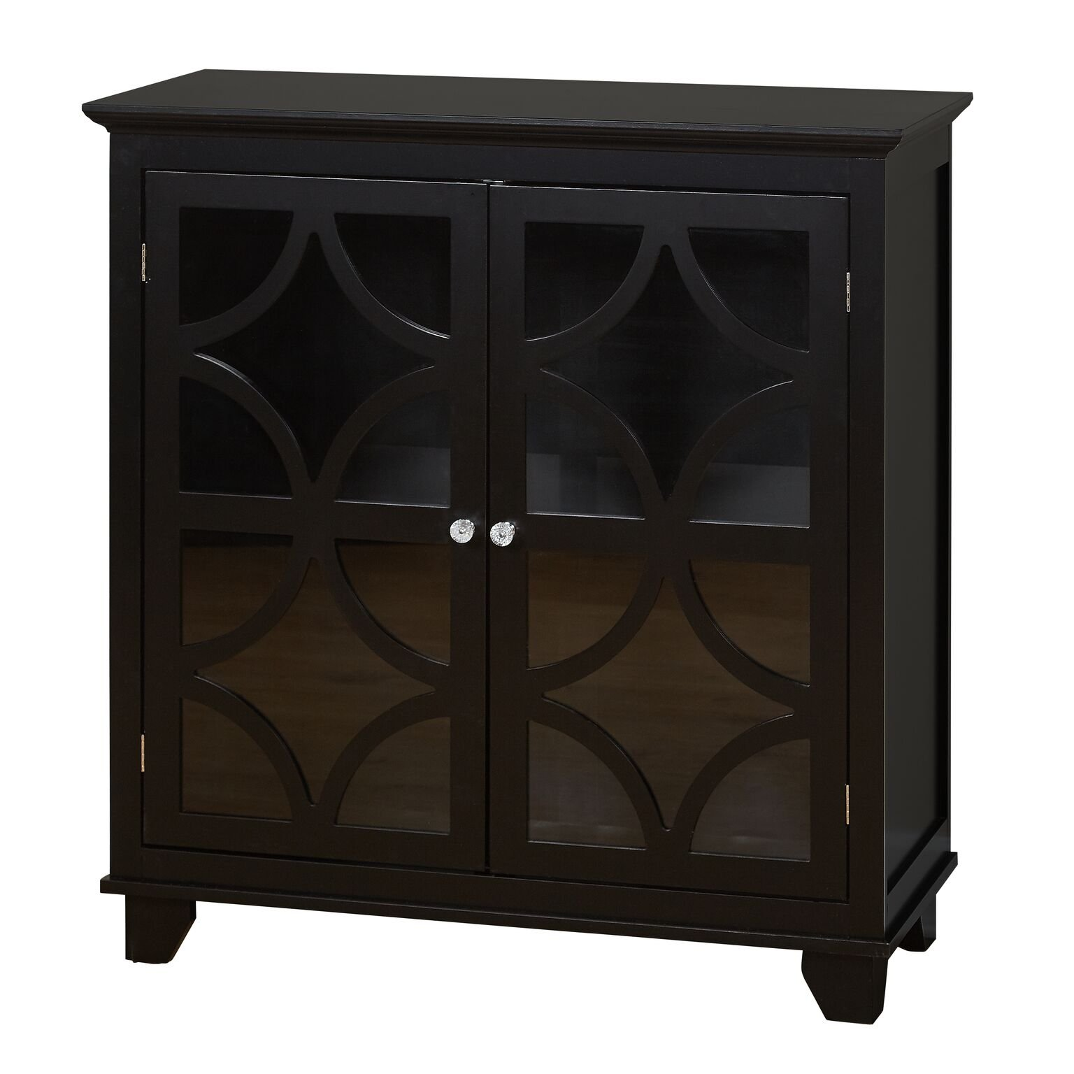 Target Marketing Systems Sydney Accent Storage Cabinet with Trellis Overlay Glass Doors and 2 Shelves, Black by Target Marketing Systems
