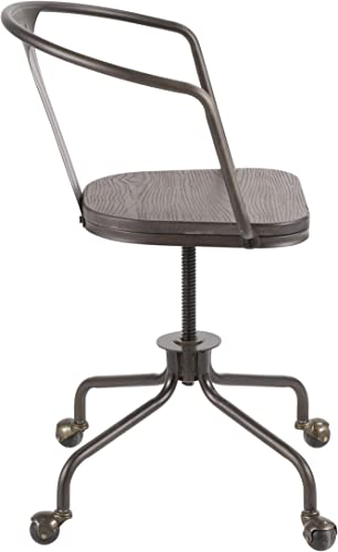 LumiSource Oregon Industrial Task Chair, Espresso Antique Metal