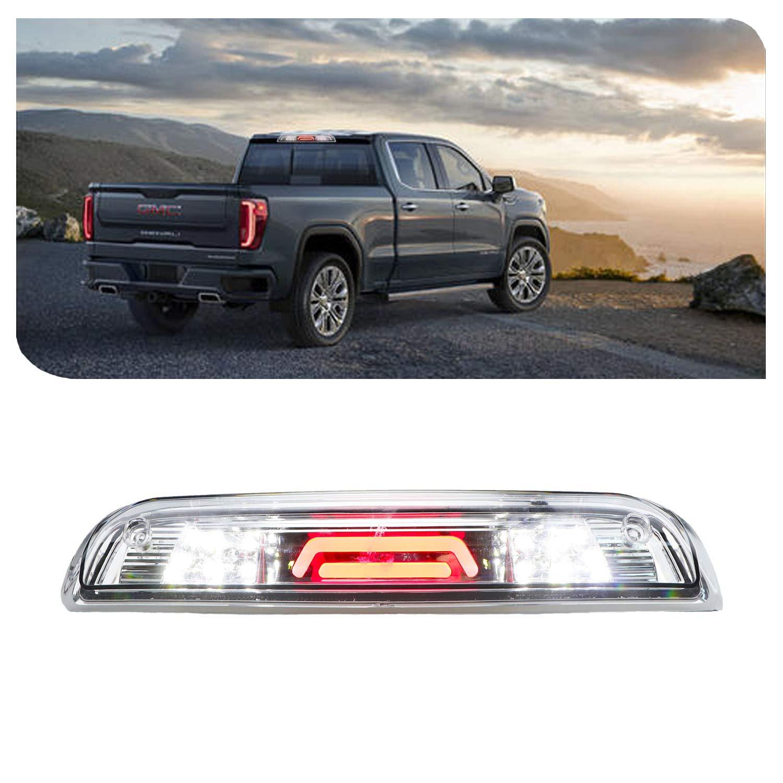 2015-2018 GMC Sierra//Chevy Silverado 2500HD 3500HD 23509162 Chrome Housing Smoke Lens Sanzitop LED 3rd Brake Light Cargo Lamp Rear Tail Light for 2014-2018 GMC Sierra//Chevy Silverado 1500