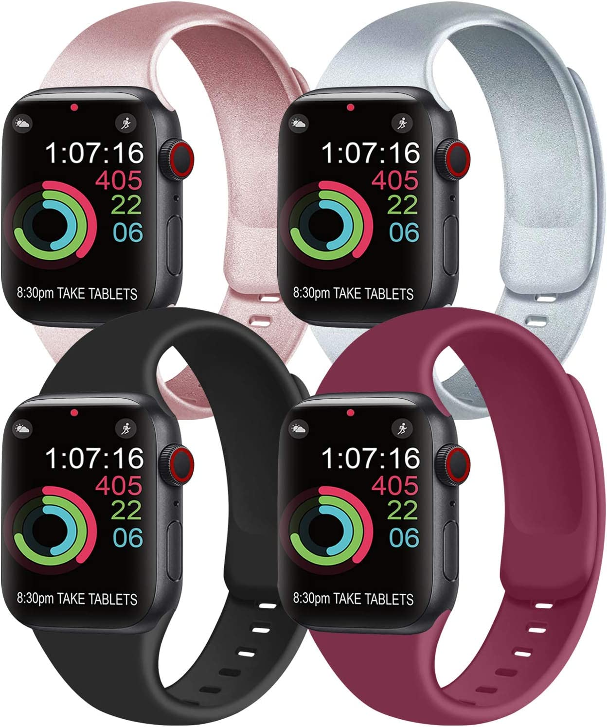 [Pack 4] Compatible with Apple Watch Bands 40mm 38mm for Women Men, Soft Silicone Bands Compatible with iWatch Series 6 5 4 3 2 1 & SE (Rose Gold/Silver/Black/Wine red, 38mm/40mm-S/M)