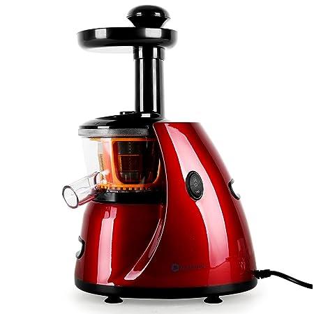 Klarstein Fruitpresso Bella Rossa • Extractor de Zumo • juguera Vertical • colador de Acero Inoxidable • 150 W • 70 RPM • Mecanismo de presión de ...