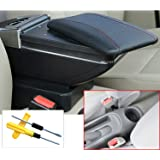for Nissan Sunny//Versa 11-16 Car Center Consoles Armrest Storage Box Accessories,Arm Rest,with Cup Holder,Removable Ashtray,Black