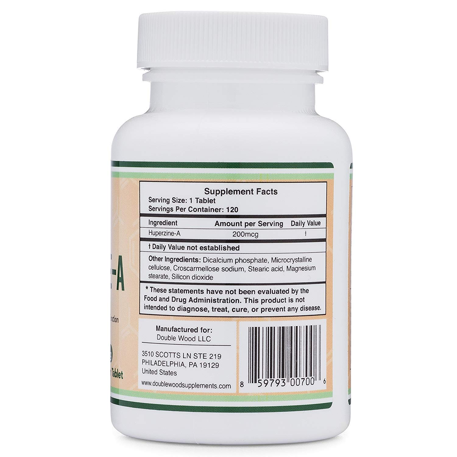 Huperzine A 200mcg (Third Party Tested) Made in The USA, 120 Tablets, Nootropics Brain Supplement to Boost Acetylcholine, Improve Memory and Focus by Double Wood Supplements by Double Wood Supplements (Image #2)
