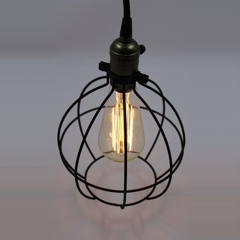 KLSD Industrial Edison Vintage Hanging Black Wire Cage Lampenschirm ...