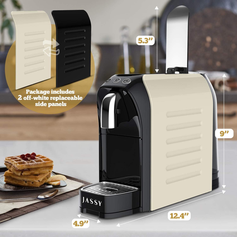 Compatible con C/ápsulas Originales Nespresso JS200 JASSY Cafetera de C/ápsulas Negro M/áquina de Caf/é Espresso a Presi/ón de 19 Bares con Placas Laterales Reemplazables
