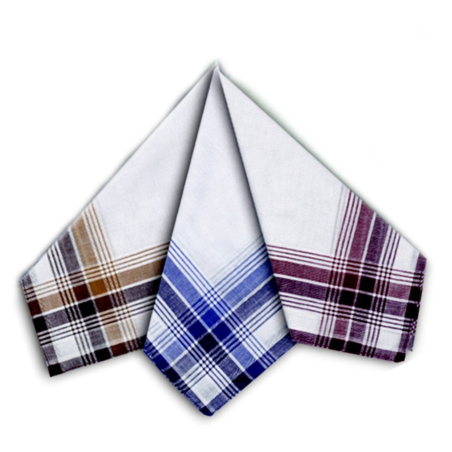 12 Men's Coloured Border 100% Cotton Handkerchiefs Spence