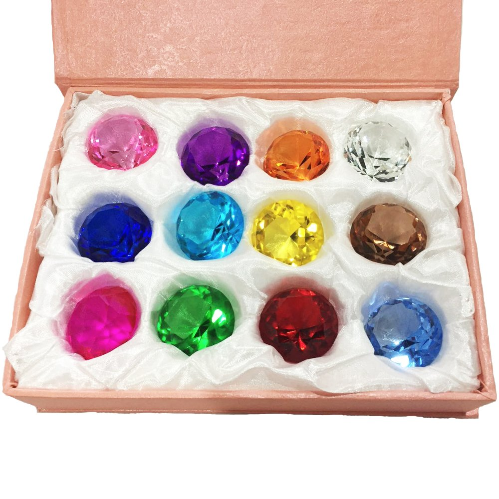 Duosuny Mother's Day Special: 30mm Glass Diamond Paperweight Birthstone Table Decorations (12pcs)