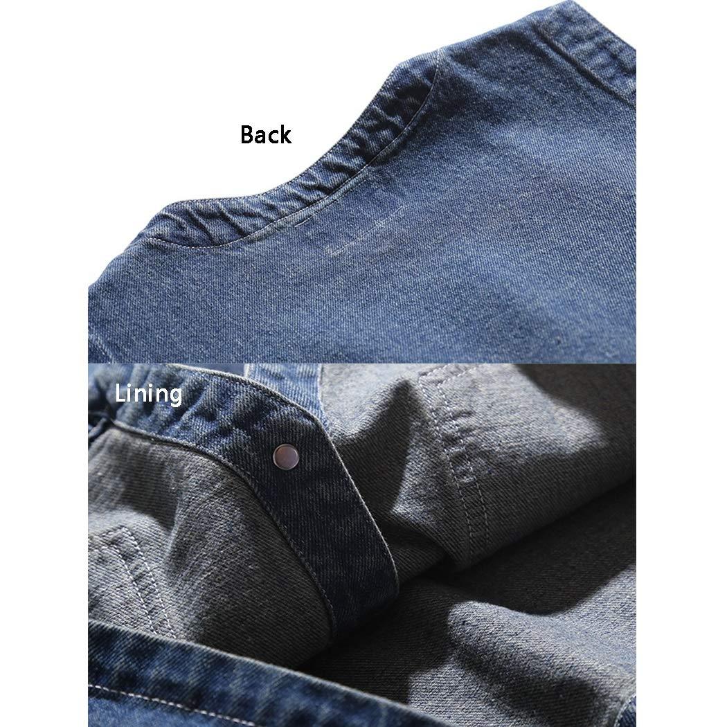 Color : Blue, Size : M GJFeng Mens Denim Vest Blue Retro Style 100/% Cotton Sleeveless Vest Spring and Autumn Models