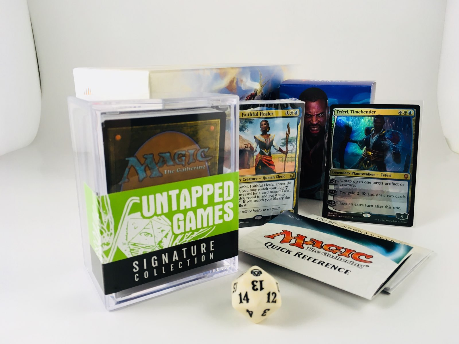 PLANESWALKER Magic: The Gathering Bundle! 60 Card Ready to Play Deck, 100 Extra Assorted Cards, Storage Box, Spindown Life Counter! Untapped Games Signature Collection