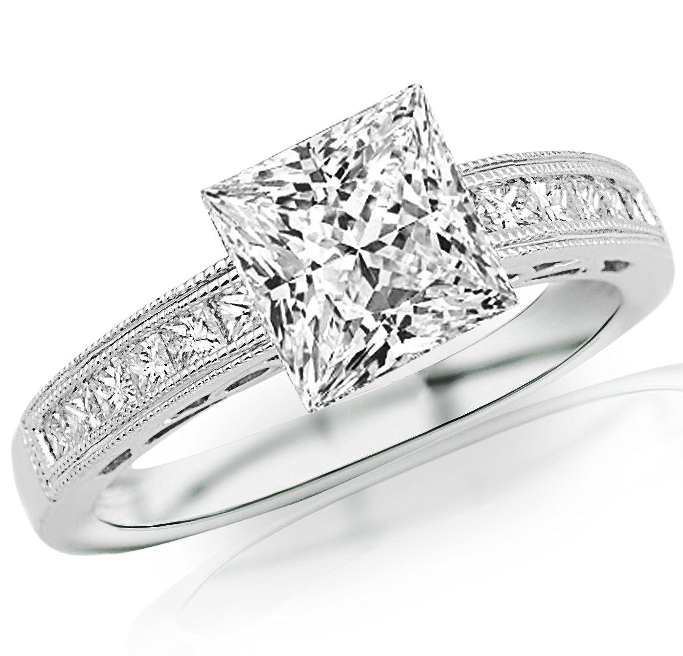 92a63a2bbb58b Houston Diamond District 2 Carat 14K White Gold Channel Set Princess Cut  Diamond Engagement Ring with Milgrain with a 1.6 Carat Moissanite Center