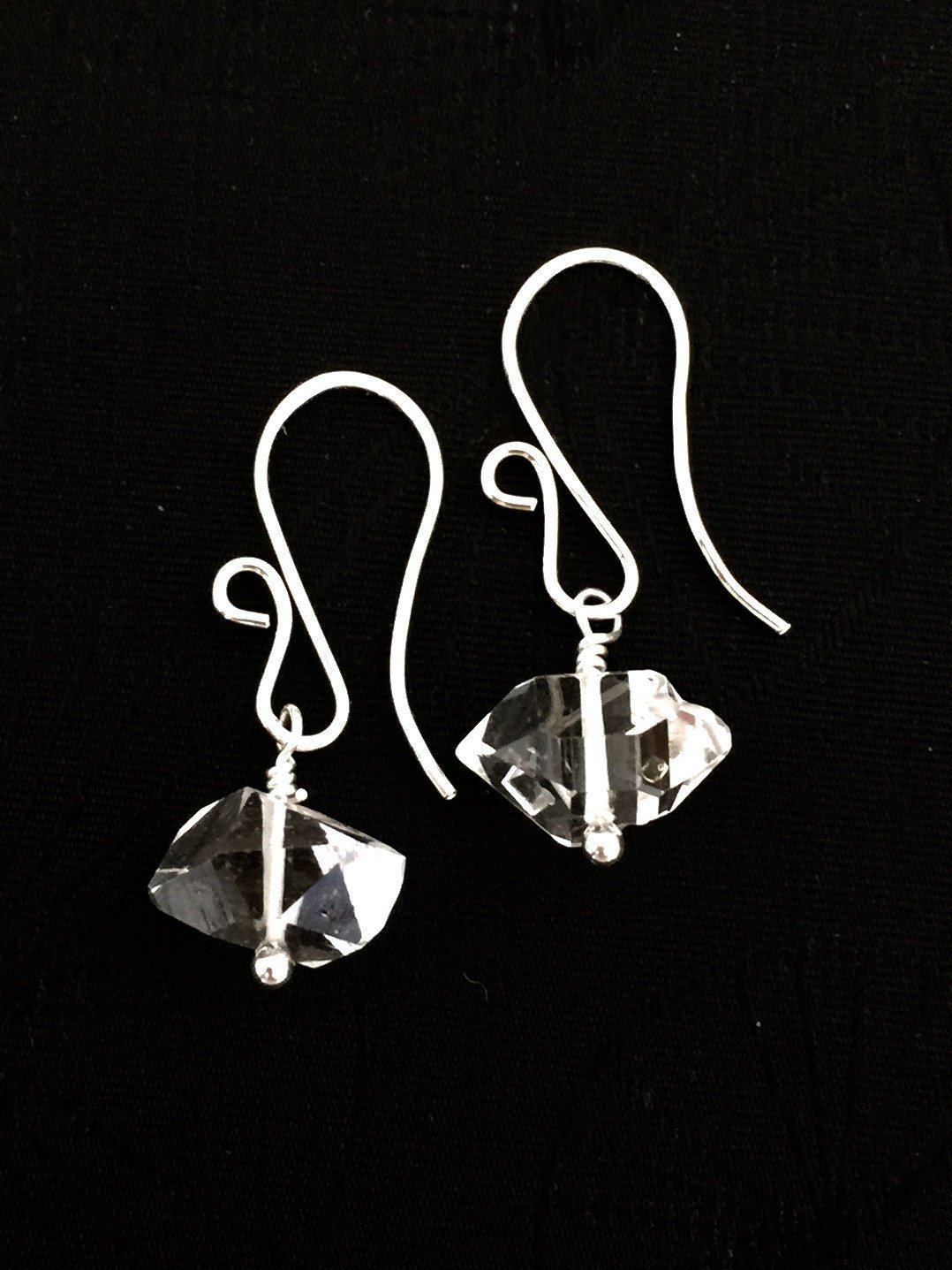 Gold Vermeil Drop Earrings Statement Earrings April Birthstone Herkimer Diamond Earrings Party Earrings Round Earrings
