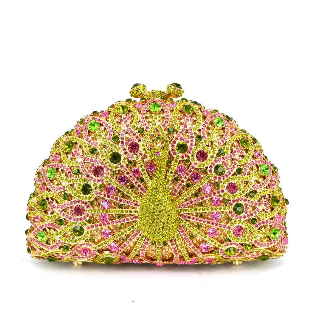 Luxury Crystal Dinner Peacock Diamond Party Purse Chain Handbag Wedding Bag