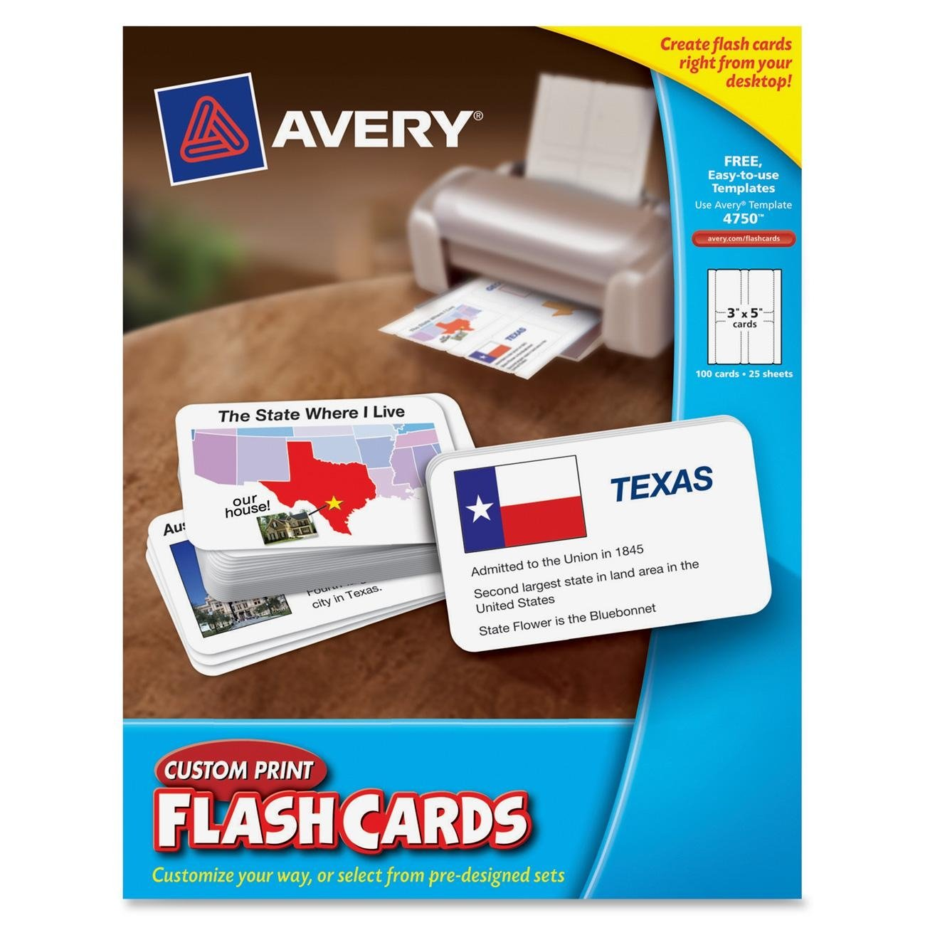 Avery Custom Print Flash Cards, 3 x 5 Inches, for Inkjet and Laser Printers, 100 Pack (04750) by Avery (Image #1)