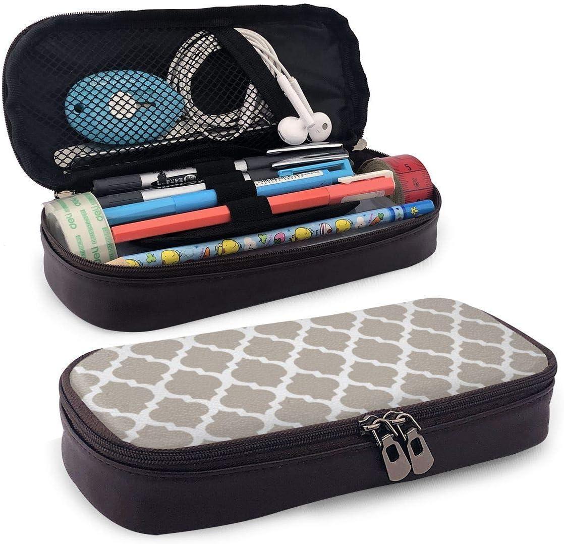 Brown Mod Modern Taupe White Pencil Pen Case Cremallera Bolsa Papelería Bolsa Titular Caja Organizador para Middle High School Office College