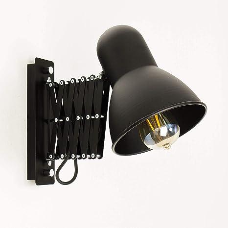 Schwarze Wandlampe mit Schalter E27 ausziehbar schwenkbar ...