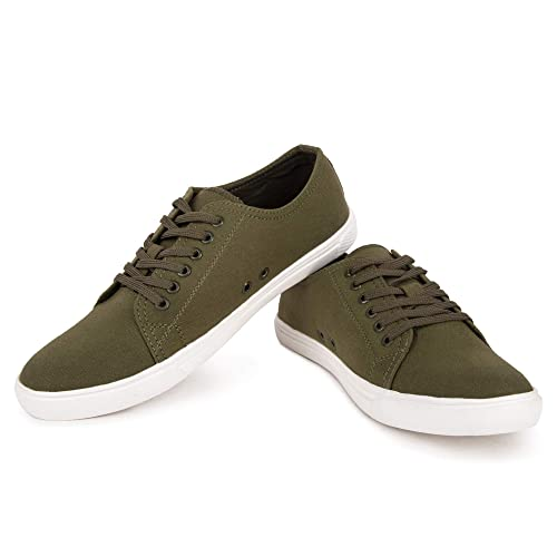 f34760790b6a MONKS   KNIGHTS Army Green Smart Casual Canvas Shoes Sneakers for Men ...