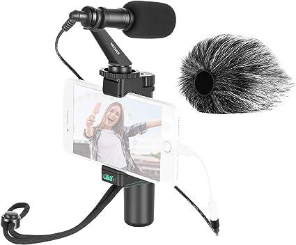 Todo para el streamer: Neewer Smartphone Rig Cineasta Grip Soporte para Trípode con Clip para Teléfono y Micrófono de Video para Vlogging Videos de Youtube Transmisión en Vivo Filmación etc. Compatible con iPhone Android