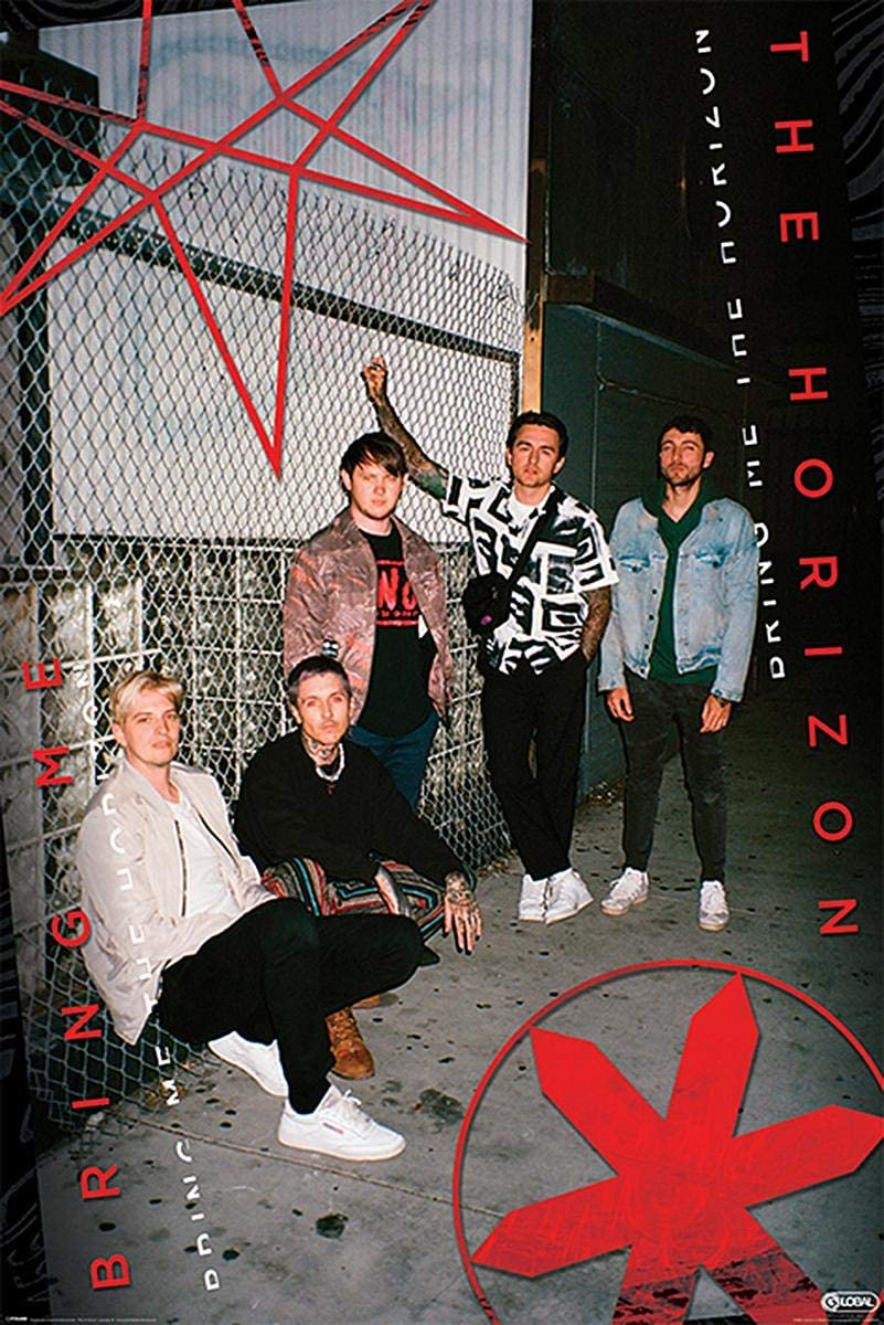 + 2 St Close Up Bring Me The Horizon Poster Alley 61cm x 91,5cm transparente Posterleisten mit Aufh/ängung