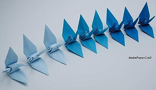 Amazon.com: 100 Origami Cranes Paper Cranes Blue Tone 7.5 cm ...