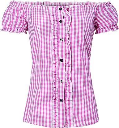 ALISISTER Mujer Camisa a Cuadros de Algodón Manga Corta Oktoberfest Costume Camisa S-XXL: Amazon.es: Ropa y accesorios