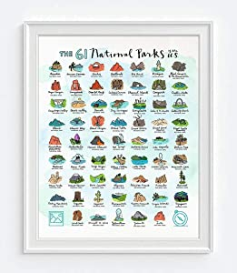 The 61 National Parks of the U.S. Art Print, Unframed, Wall Art Decor Poster Sign, Adventure Inspirational Gift, 8x10 Inches