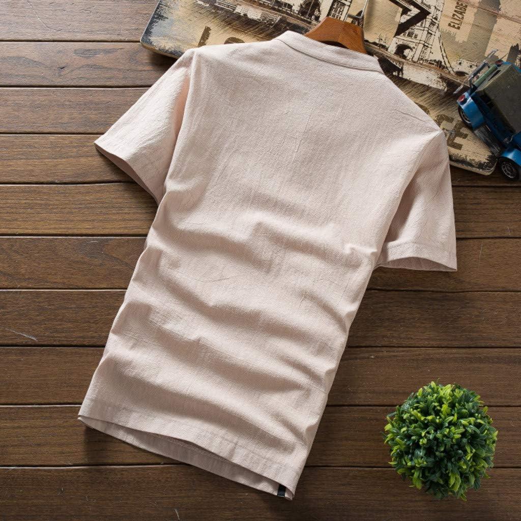 Men Beach Outfits Sets Cotton Linen Tracksuits Set Short Sleeve Shirt+Long Pant Clothes Set Plus Size Casual Sweatsuit Set