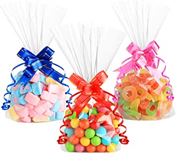 50 x CONE CLEAR Cello Bags Gift Party 37 x 18 cm /&  TWIST TIES