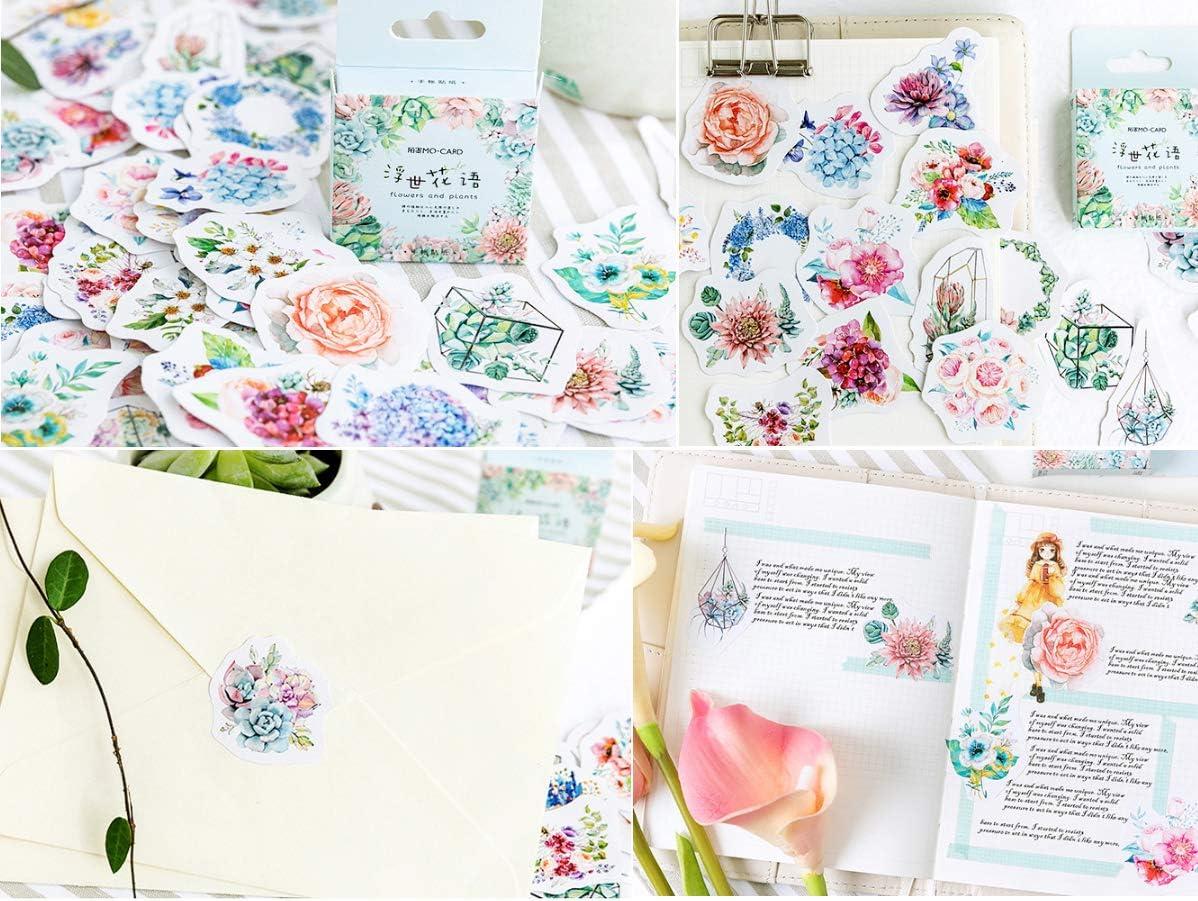 Gnognauq 360pcs Scrapbooking Stickers Washi Paper Sticker Adhesive with Cute Pattern for Scrapbook Album DIY Journal