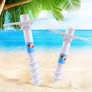 Ohuhu Beach Umbrella Sand Anchor Stand Holder with 5-Tier Screw, One Size Fits All Safe for Strong Wind, 2 Pack