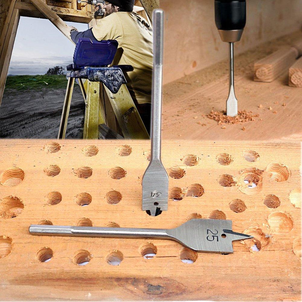 Woodworking Spade Drill Bit Set, Budalga Flat Wood Drill Bits High-Carbon Steel Industrial Spade Paddle Flat drill 15PCS 10~50mm - - Amazon.com