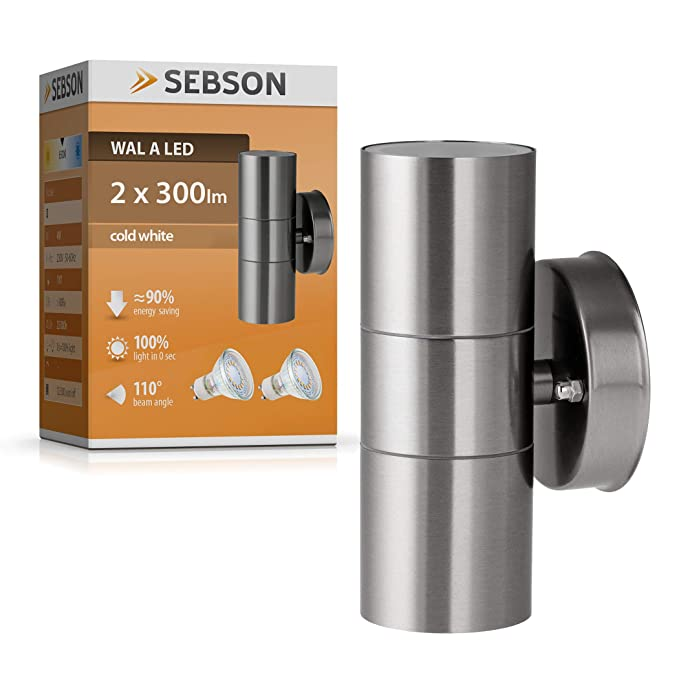 SEBSON - Lámpara de exterior, Lámpara de pared, Acero inoxidable, UP DOWN, incluye 2 x GU10 LED Bombilla 4 W (3,5 W) fría: Amazon.es: Iluminación
