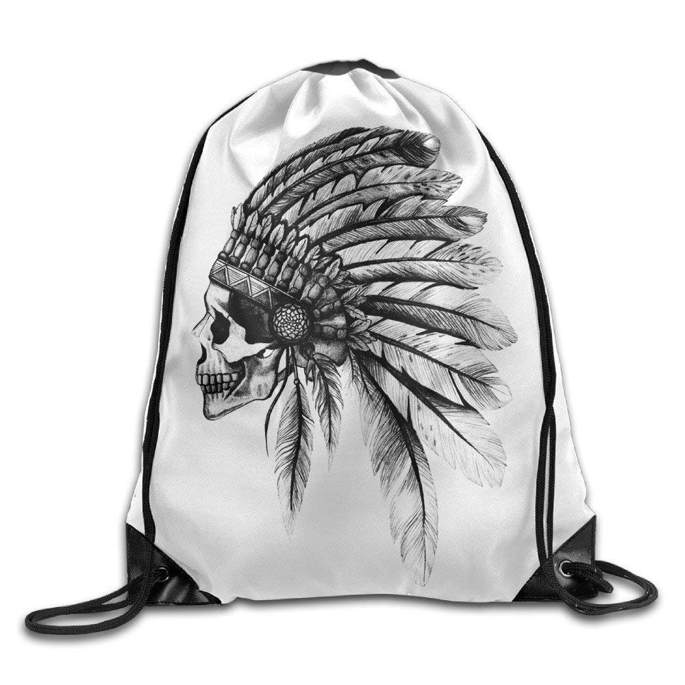 awesome Artistic Indian Skull Head Black Feather Drawstring Backpack String Bag