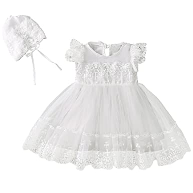 b9afd76b07eb2 Xopzsiay Baby Girl Lace Cap Sleeve Embroidered Trim Christening Baptism  Dress with Bonnet
