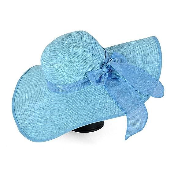 68f480a9ba0 GAMT Big Bow Ribbon Female Beach Hat Large Eaves Hats Straw Cap Sun ...