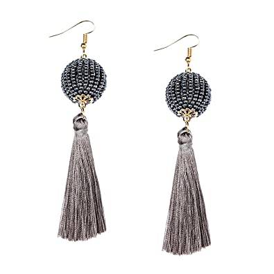 e9e27ff1041d8 MHZ JEWELS Dark Grey Tassel Dangle Earrings Womens Fashion Bead Ball Tassel Earring  Bohemian Long Drop