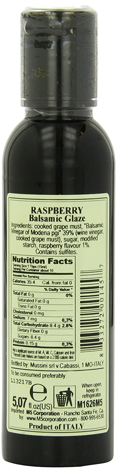 Amazon Com Mussini Italian Natural Flavored Balsamic Glaze Raspberry 5 1 Ounce Pack Of 1 Balsamic Vinaigrette Salad Dressings Grocery Gourmet Food