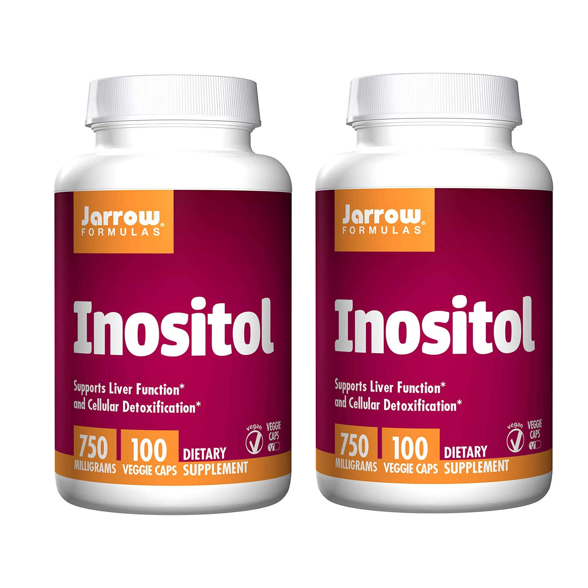 Jarrow Formulas Inositol Supports Liver Function and Cellular Detoxification 750 Milligrams Dietary Supplement - 100 Veggie Caps (Pack of 2)