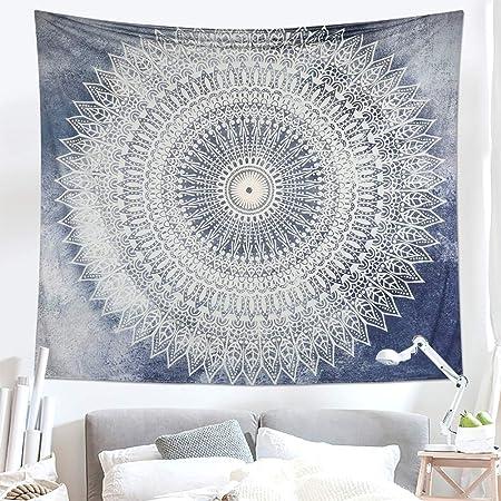 Lsmaa India Tapiz Tapiz Mandala Bohemia Colgar de la Pared del Dormitorio del Arte en Hippy Tapices Dormitorio Mandala Arte tapicería del algodón Rosado Gris (L / 148CMx200CM): Amazon.es: Hogar