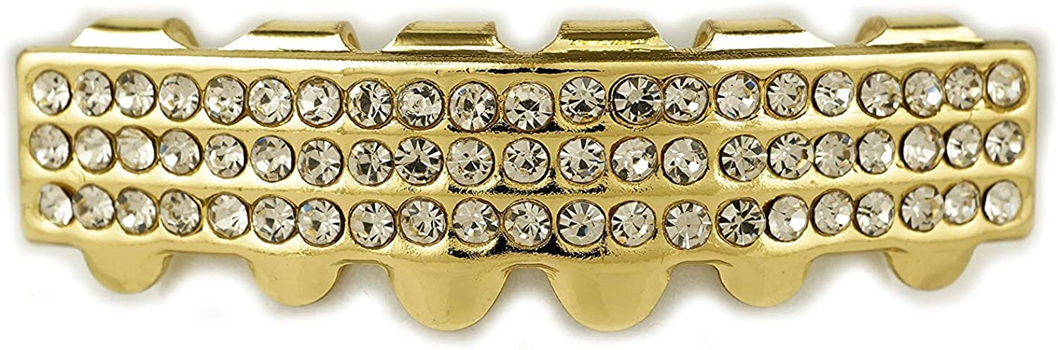 14K Yellow Gold-Plated Iced 3 Row 6 Tooth Grillz NIVS BLING Top//Bottom//Set
