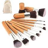 Brochas para maquillaje set Bambu cruelty free | Pinceles para maquillar cara y ojos Kabuki suaves de pelo sintetico de…