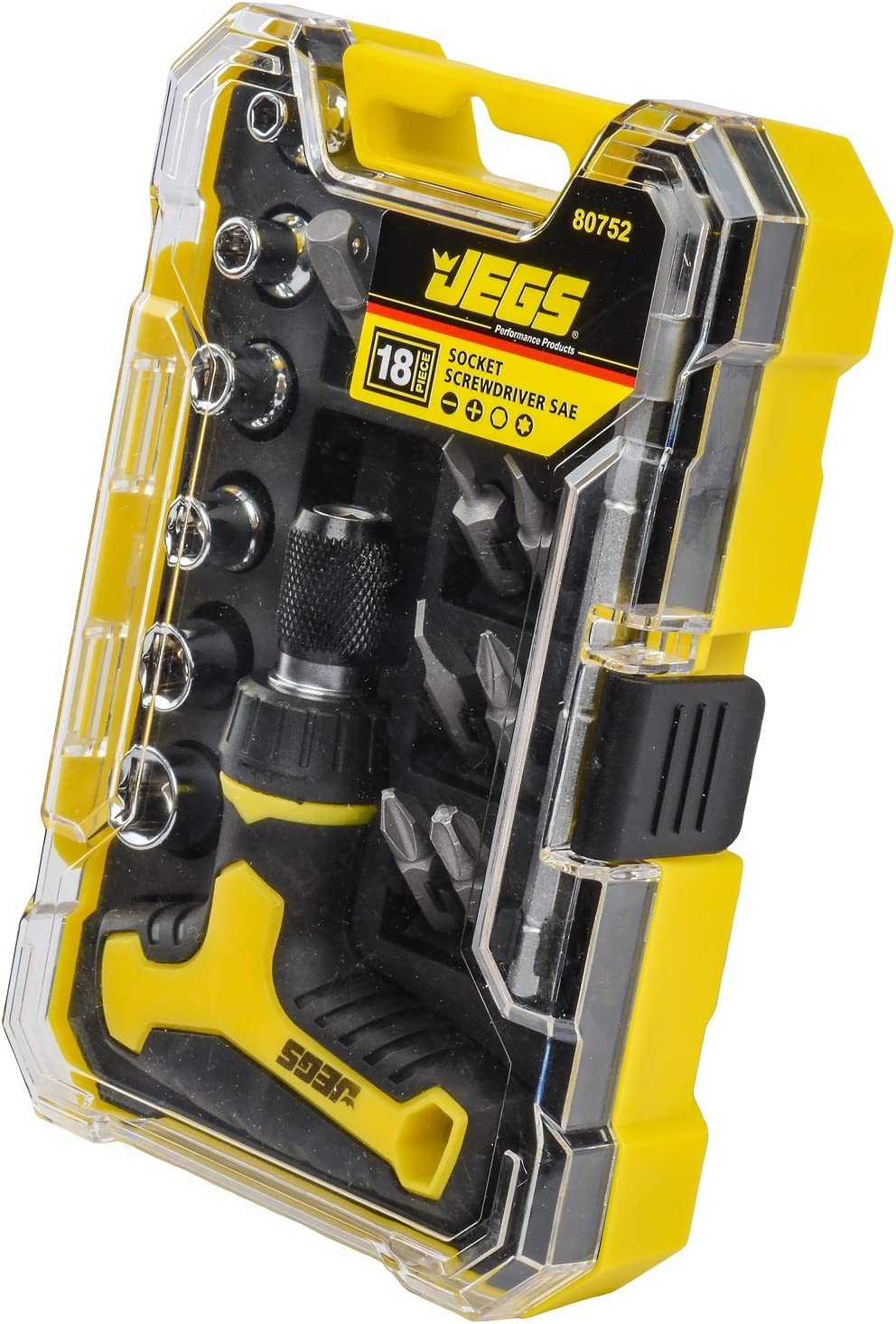 JEGS 80752 Socket and Screwdriver Set 18-Piece SAE