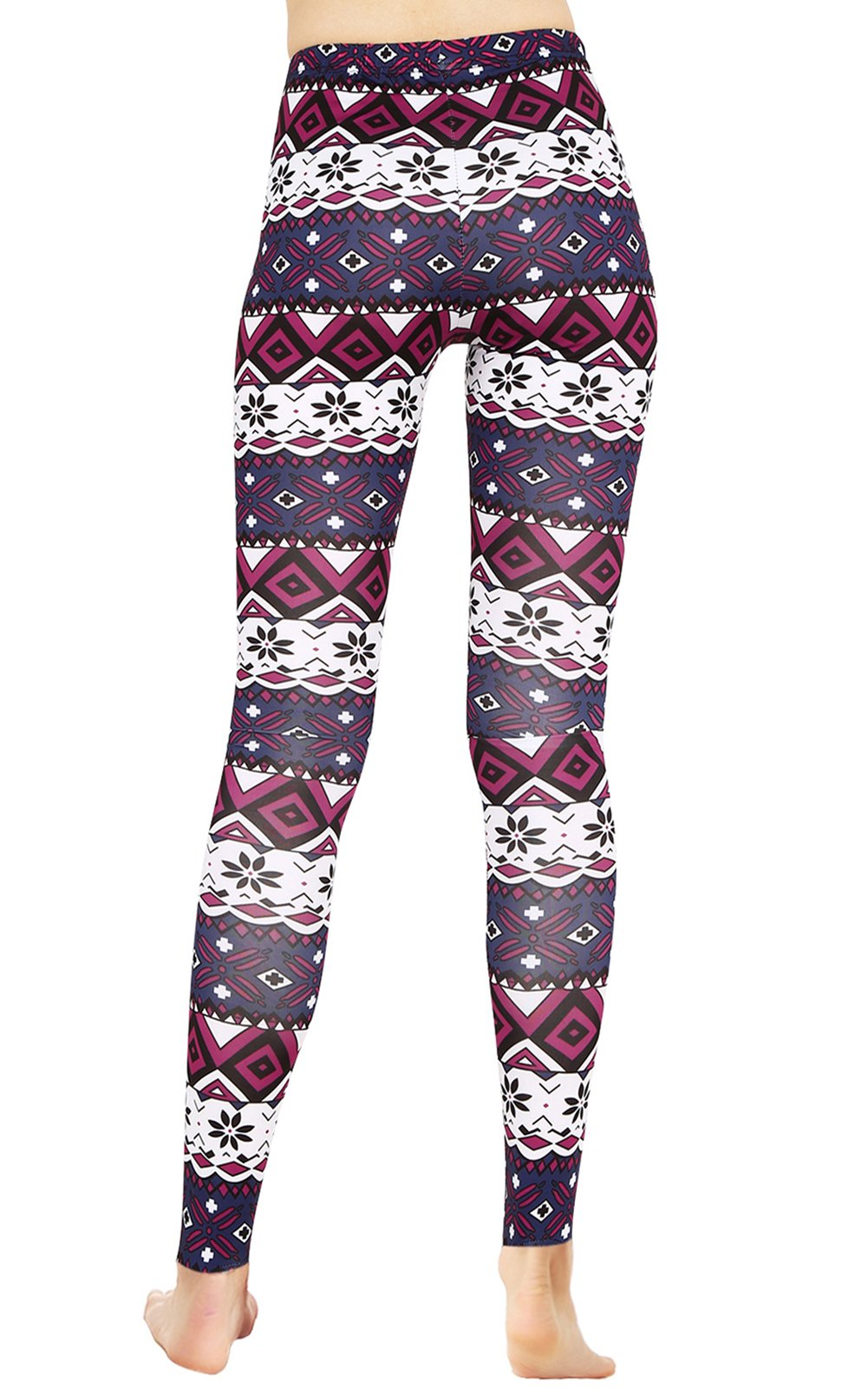 Purple Floral Print Stretch Leggings Pants for Women Graphic Patterned Tights L