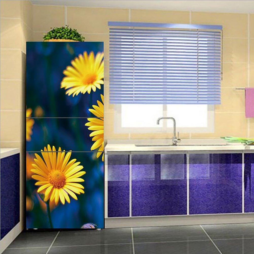 HHYS DIY Etiqueta Engomada del Refrigerador Amarillo Pequeña Flor Azul Fondo Patrón Auto-Adherente Impermeable Mural,60X150cm(23.6''X59'') [Clase de eficiencia energética A]